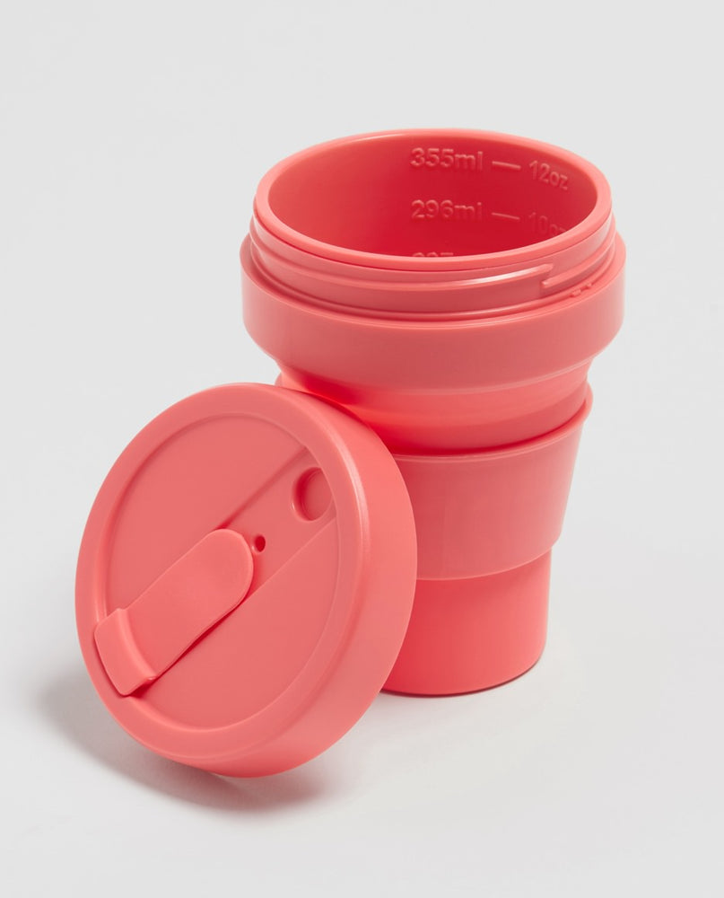 Load image into Gallery viewer, 12oz Coral Pink Collapsible Coffee Cup
