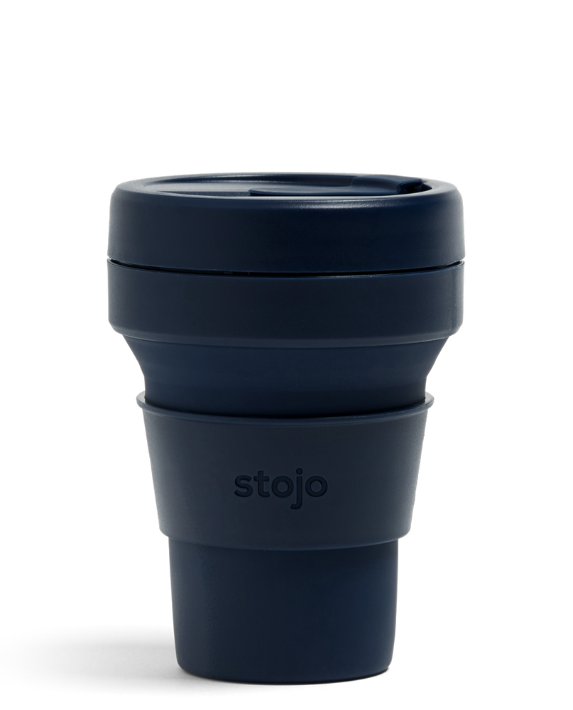 12oz Denim Dark Blue Collapsible Coffee Cup