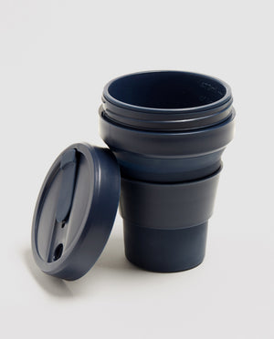 Load image into Gallery viewer, 12oz Denim Dark Blue Collapsible Coffee Cup