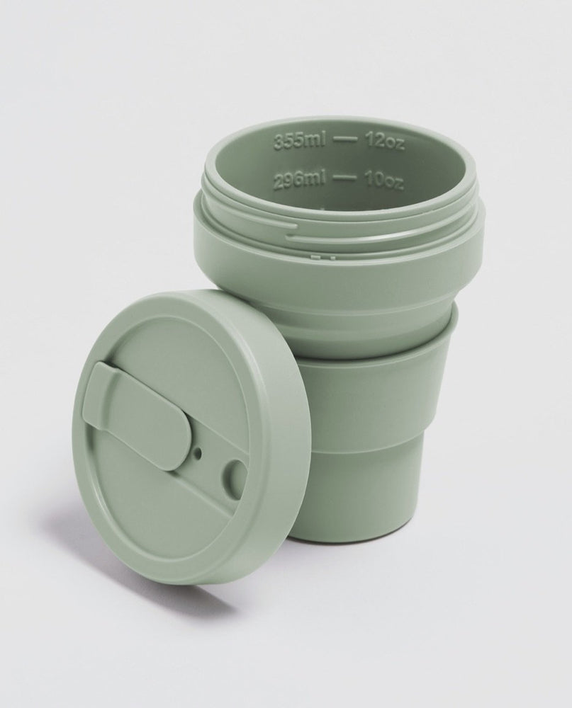 Load image into Gallery viewer, 12oz Sage Green Collapsible Coffee Cup