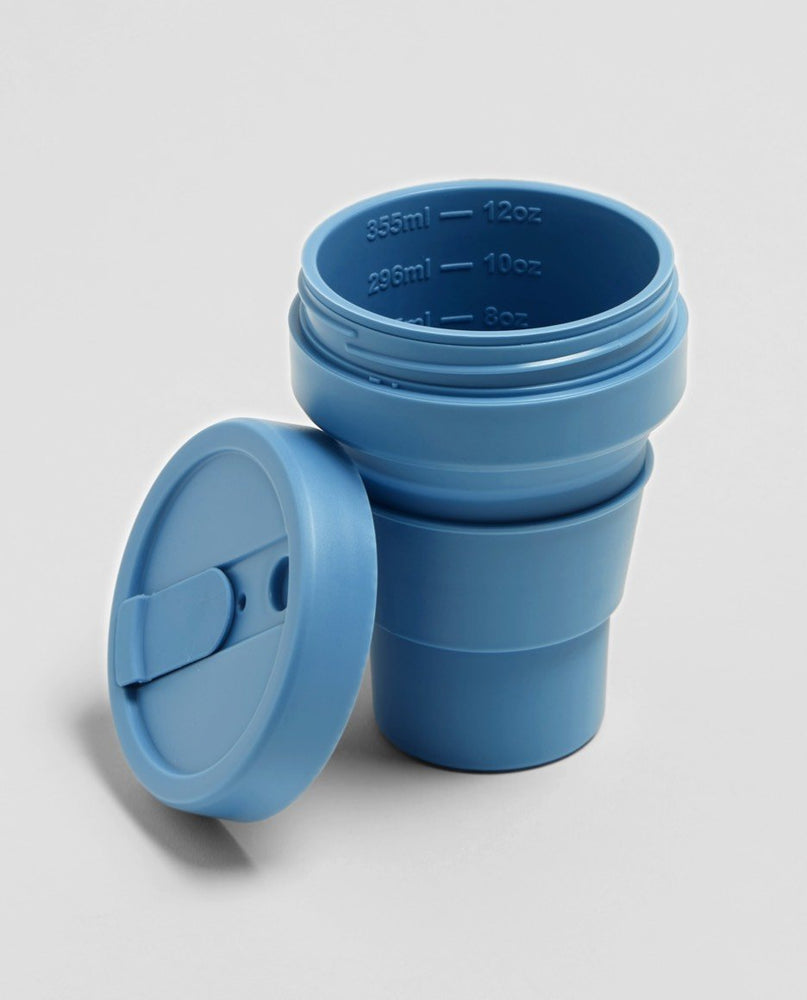Load image into Gallery viewer, 12 oz Steel Blue Collapsible Coffee Cup