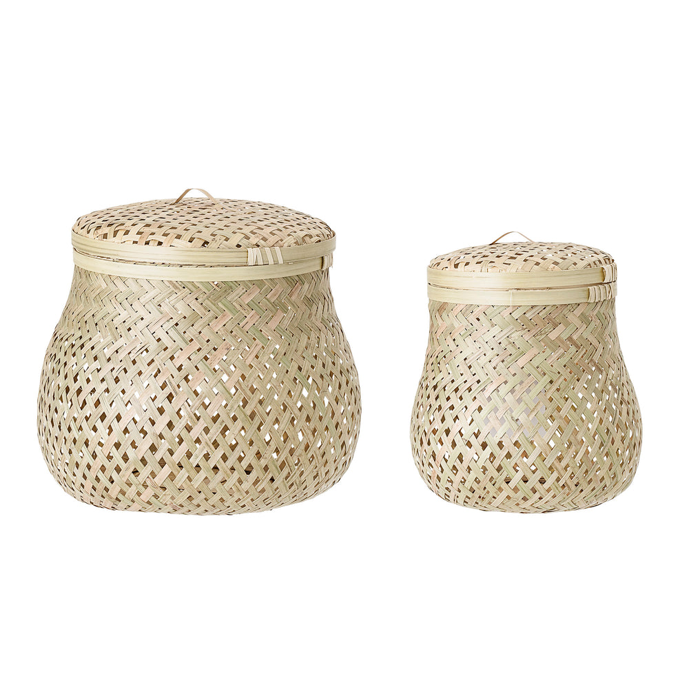 Set of 2 Baskets with Lid, Nature