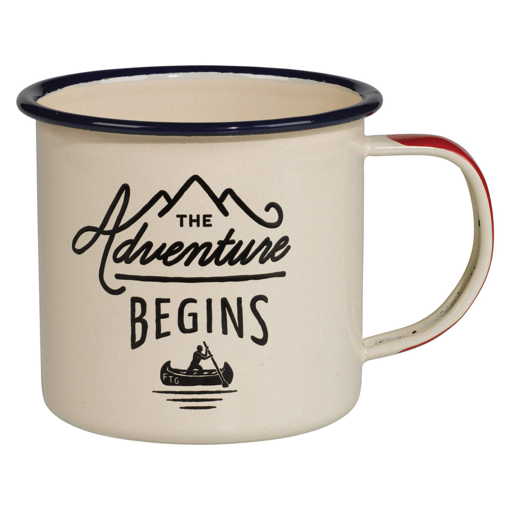 The Adventure Begins' Cream Gentlemen's Hardware Enamel Mug