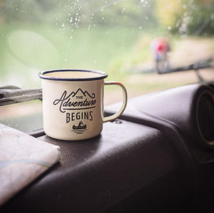 Load image into Gallery viewer, The Adventure Begins' Cream Gentlemen's Hardware Enamel Mug