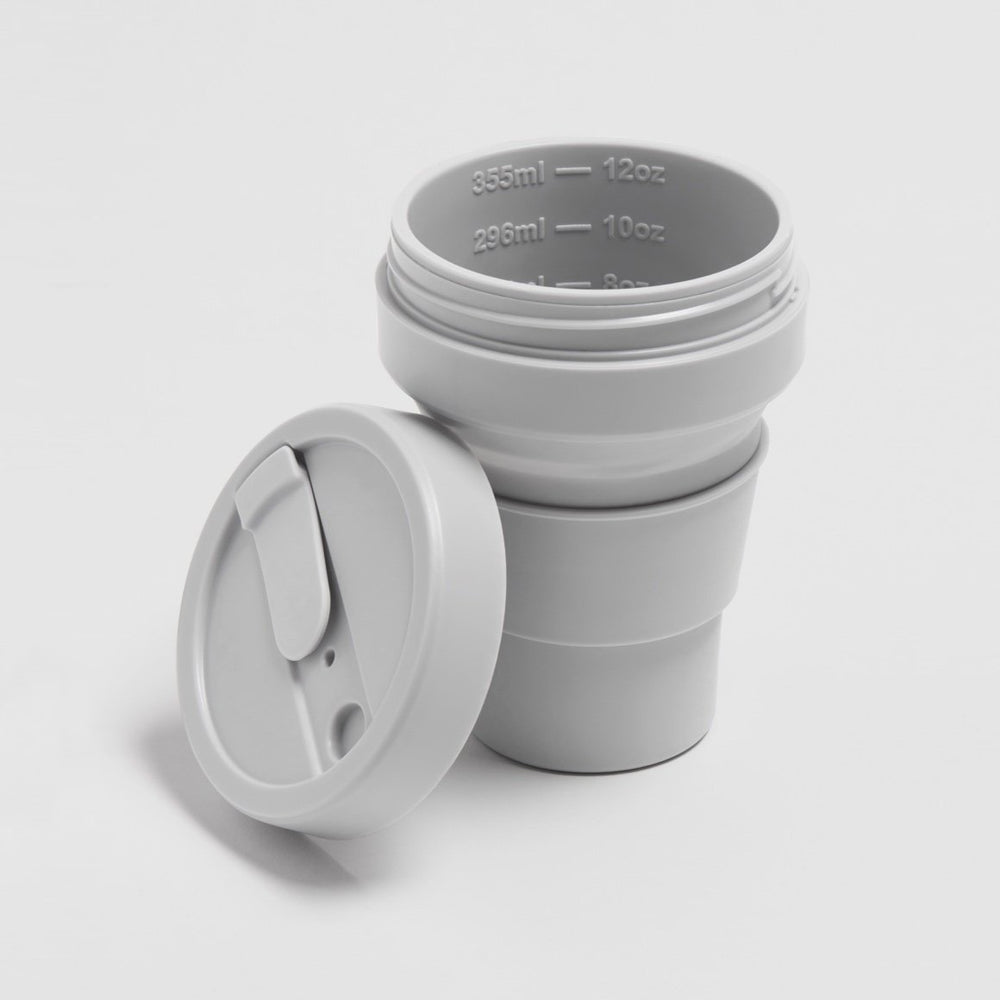 Load image into Gallery viewer, 12 oz Cashmere Grey Collapsible Coffee Cup
