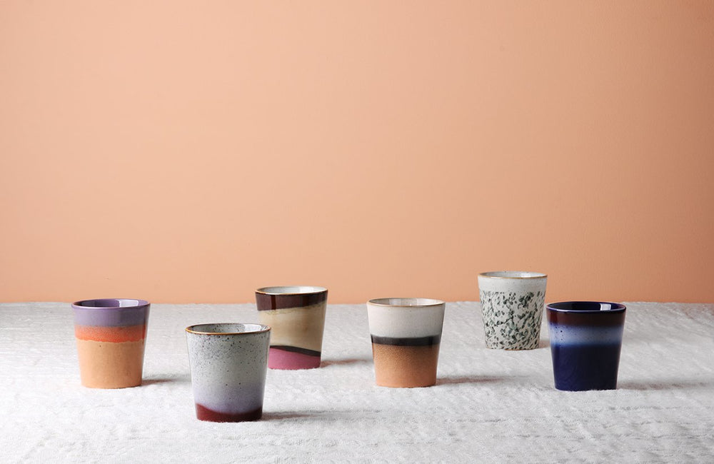 Load image into Gallery viewer, Set of 4 Ceramic 70's Mugs 'Dunes'