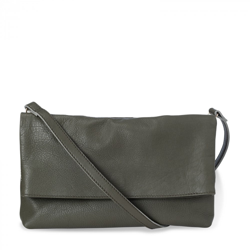 Load image into Gallery viewer, Folded Leather Crossbody Bag, Licorice