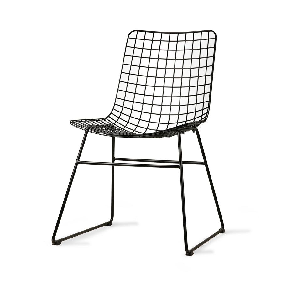 Metal wire chair, black
