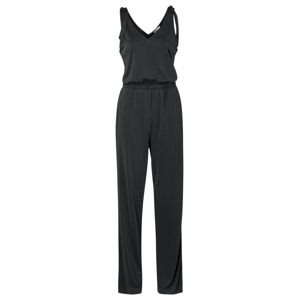 Modal Blend Sleeveless Jumpsuit, Almost Black