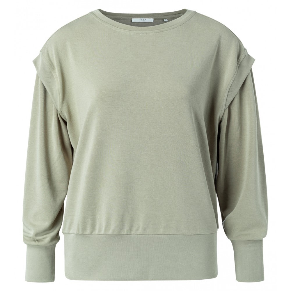 Modal Bland Sweatshirt with Rib Shoulders, Silver Sage
