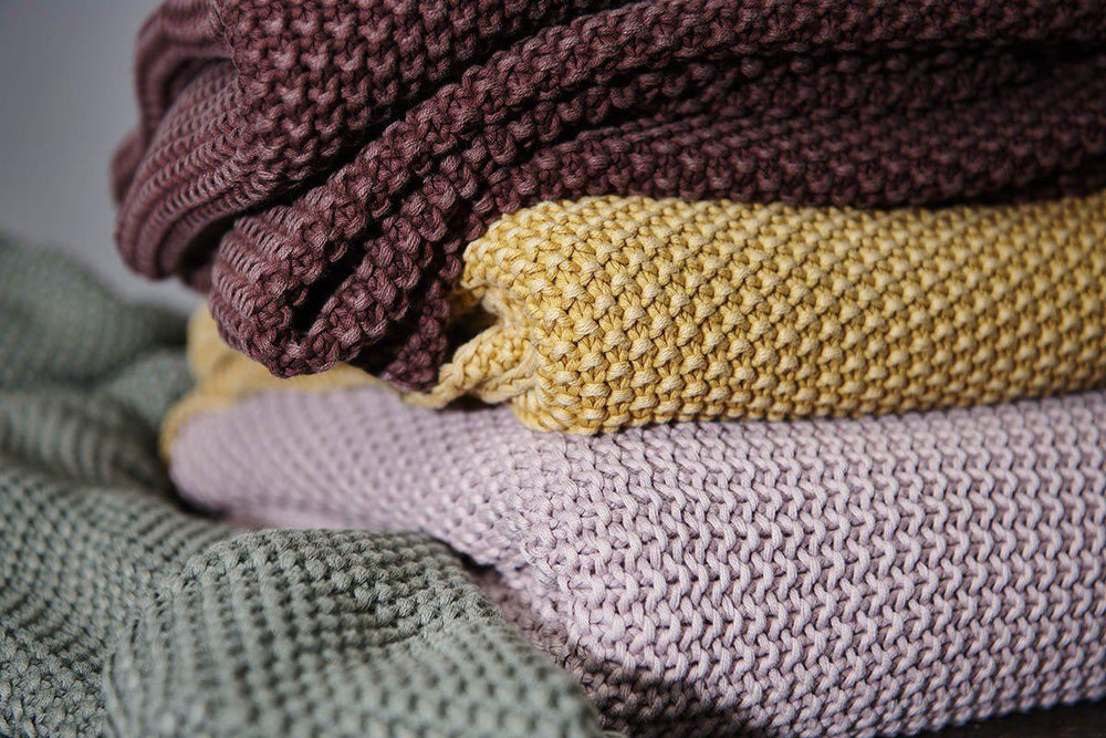 Load image into Gallery viewer, Moss Stitch Cotton Throw, Mustard