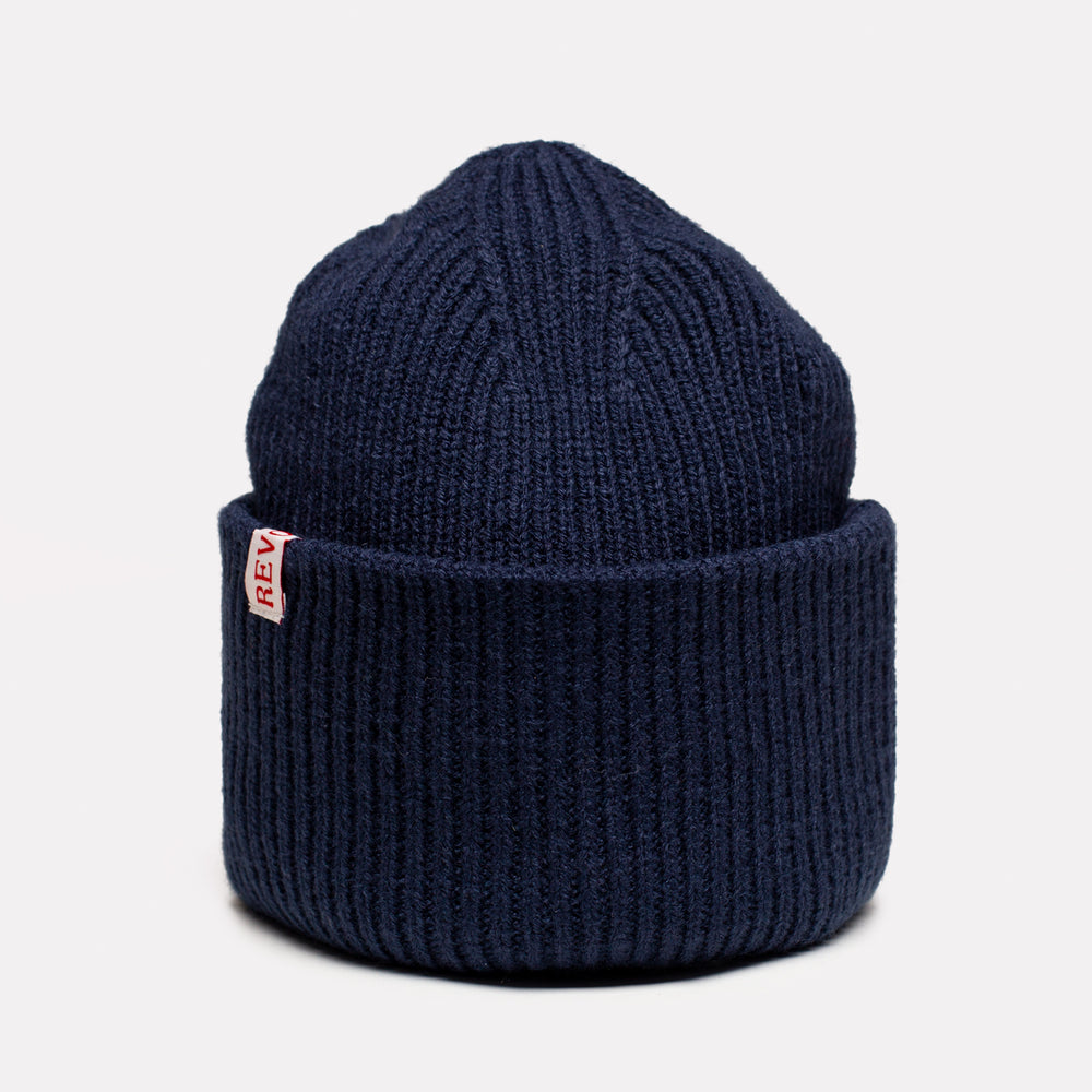 Navy Yarn Big Fold Up Beanie