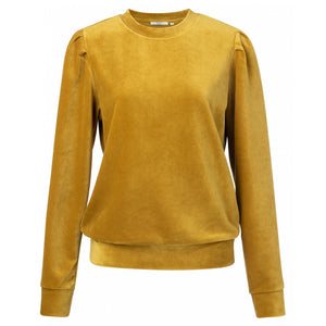 Load image into Gallery viewer, Velvet Sweater with Puff Sleeves, Mustard Gold
