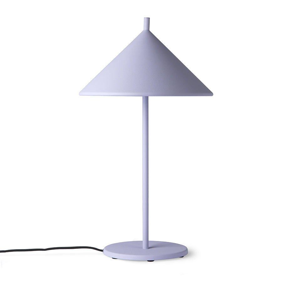 Metal triangle table lamp, lilac