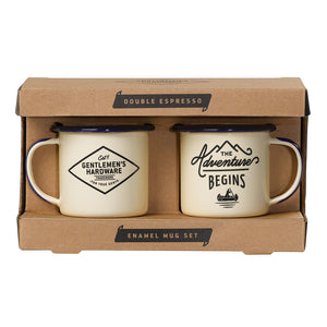 Load image into Gallery viewer, Set Of Espresso Beige Enamel Mugs