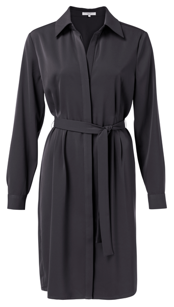 Belted Button up Midi Dress, Phantom