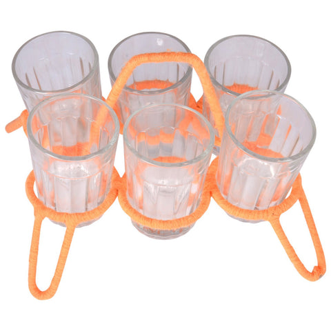 "Tea glass set of six with stand  ""Chikha with glasses"""