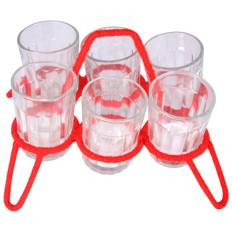 Cutting Chai Glasses with Holder: Simply Kitsch Red