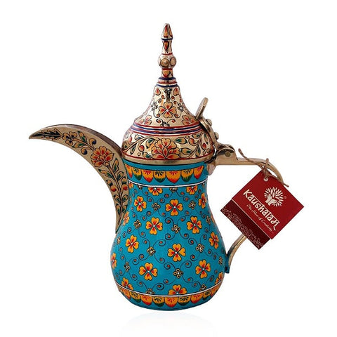 Majestic Brass Coffee pot- Arabic Dallah Coffee Pot, Great Arabic brass décor, Unique gift, Aqua Green Gold With Crystals
