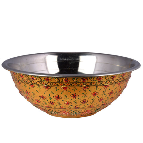 Kaushalam's handpainted serving bowl: Golden