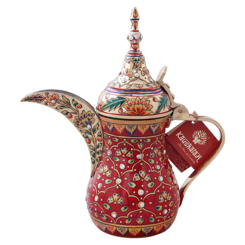 Majestic Brass Coffee pot- Arabic Dallah Coffee Pot, Great Arabic brass décor, Unique gift Maroon gold with crystals