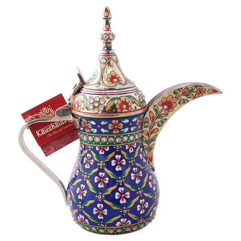 Majestic Brass Coffee pot- Arabic Dallah Coffee Pot, Great Arabic brass décor, Unique gift Blue gold with crystals