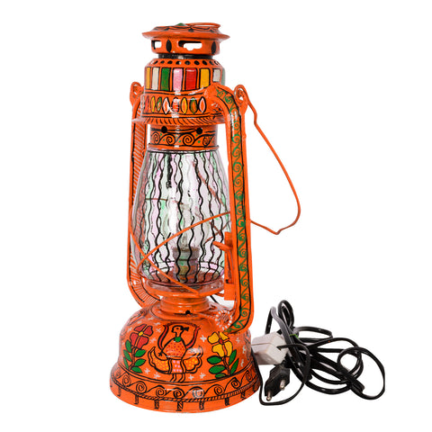 Hand Painted Hurrican Lantern with Bulb : Orange Celebration