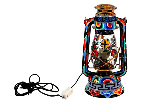 Hand Painted Hurrican Lantern with Bulb : Pure Bliss Ladakhi Art