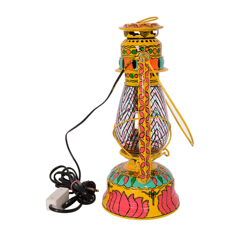 Hand Painted Hurrican Lantern with Bulb : Yellow Lotus
