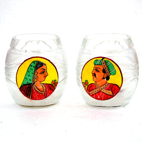 Hand Painted Beer Mugs set of 2: King & Queen Yellow