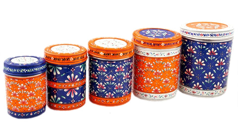 CANISTER SET OF 5 BLUE LAGOON
