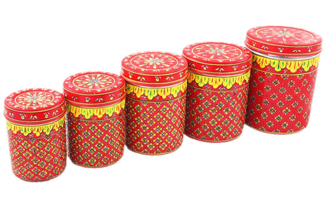 CANISTER SET OF 5 RANGOLI