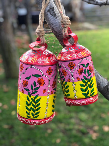 hand painted cow bells - Hanging bells set of  2