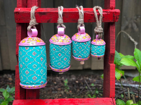 hand painted cow bells - Hanging bells set of  4