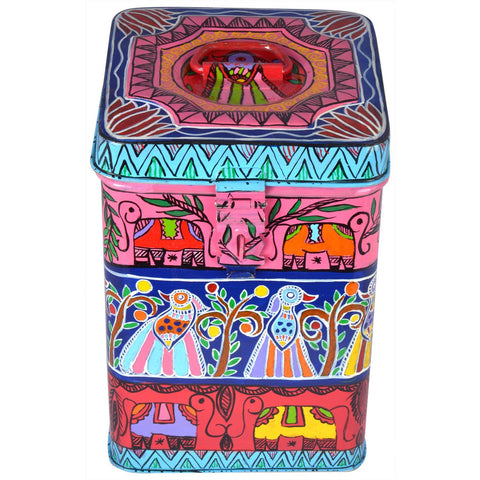 "Kaushalam Hand Painted Canister - "" Jungle fun"""