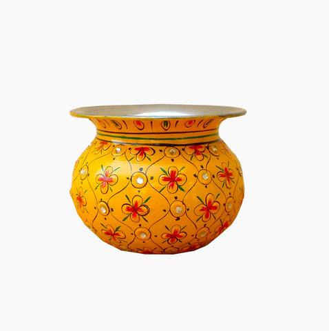 Ethnic Crystal Kalash - yellow, Vase, sugar pot