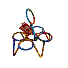 Tea Glass Stand Four CHIKA: Multi Rainbow colour