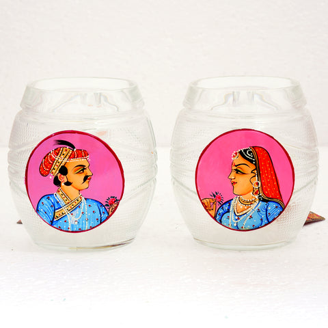 Hand Painted Beer Mugs set of 2: King & Queen Pink
