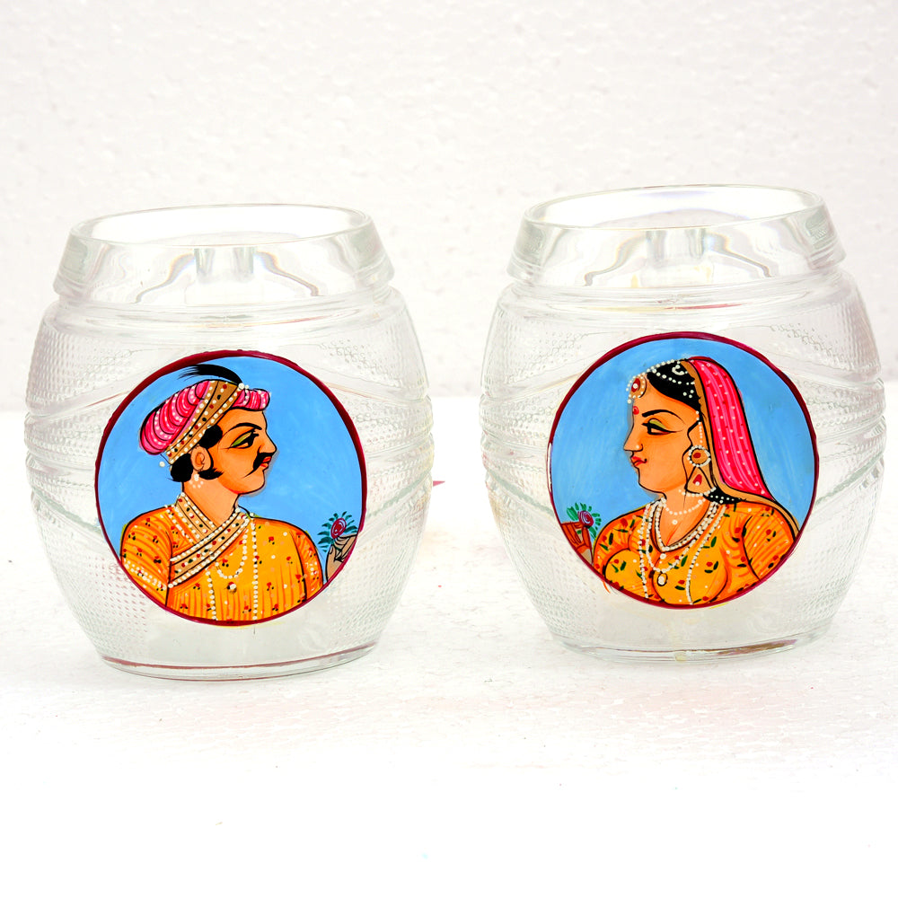 Hand Painted Beer Mugs set of 2: King & Queen blue