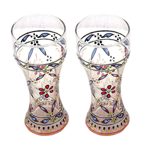 Hand Painted Pilsner Beer Glasses Set of 2, 320 ML