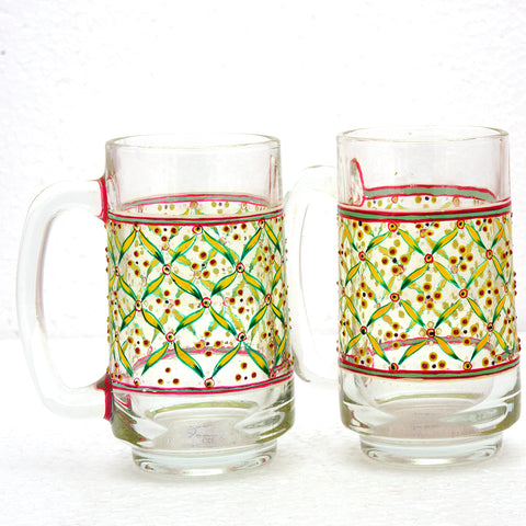 Hand Painted Beer Mugs set of 2 :Floral