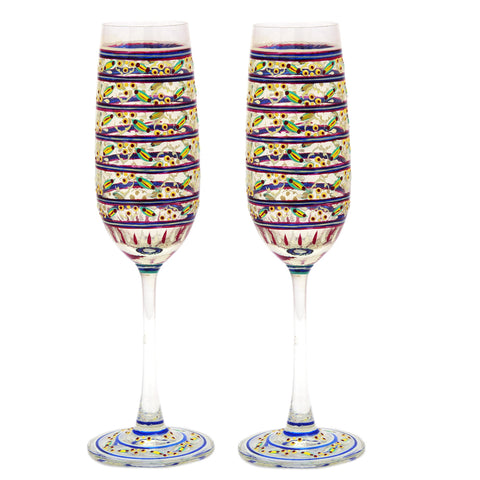Hand Painted Ocean Madison Flute Champagne, 210ml, Set Of 2,Perfect couple gift, Bar lovers Collectible
