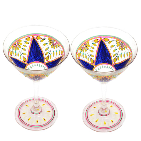 Hand Painted Cocktail/Mocktail glasses set of 2 Mughal,Perfect couple gift, Bar lovers Collectible