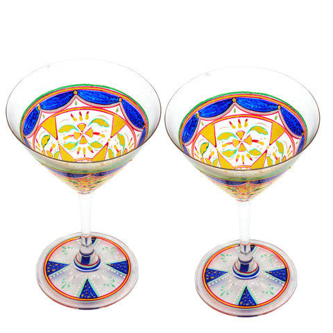 Hand Painted Cocktail/Mocktail glasses set of 2 Flora,Perfect couple gift, Bar lovers Collectible