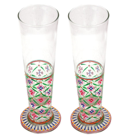 Hand Pinted Tall Beer Glass Set, 420ml, Set of 2 : Mughal Garden Multi colour