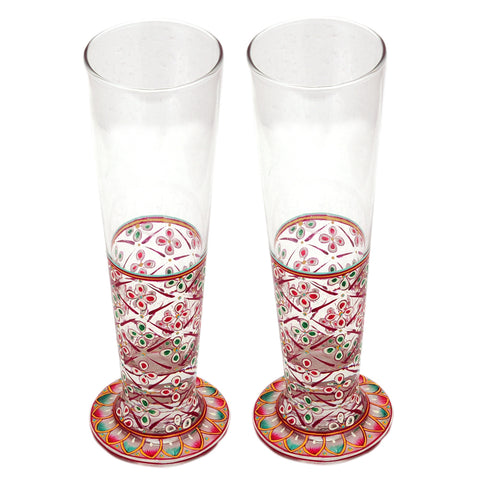 Hand Pinted Tall Beer Glass Set, 420ml, Set of 2 : Mughal Garden Red