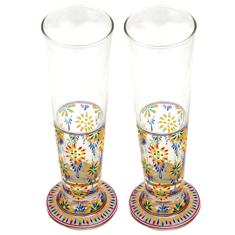Hand Pinted Tall Beer Glass Set, 420ml, Set of 2 : Mughal Garden Yellow