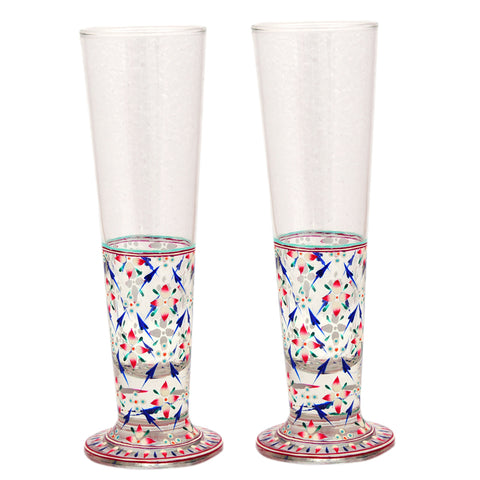 Hand Pinted Tall Beer Glass Set, 420ml, Set of 2 : Mughal Garden Flower Multi colour