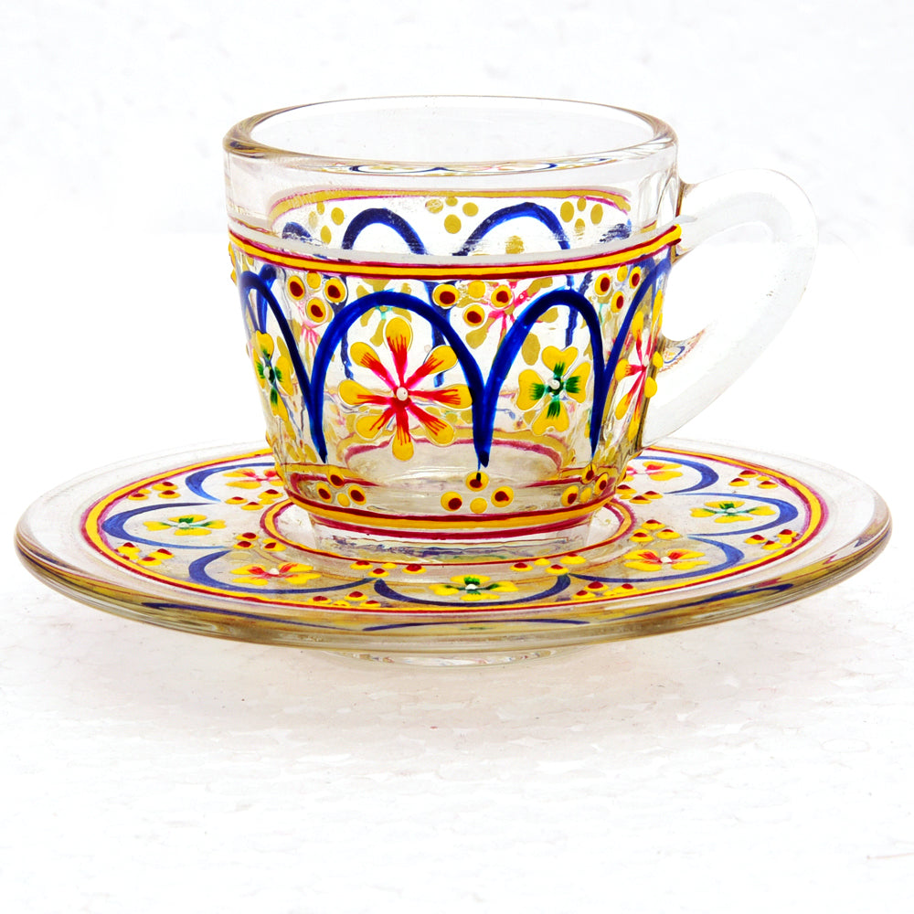Hand Painted Cup & Saucers set of 6