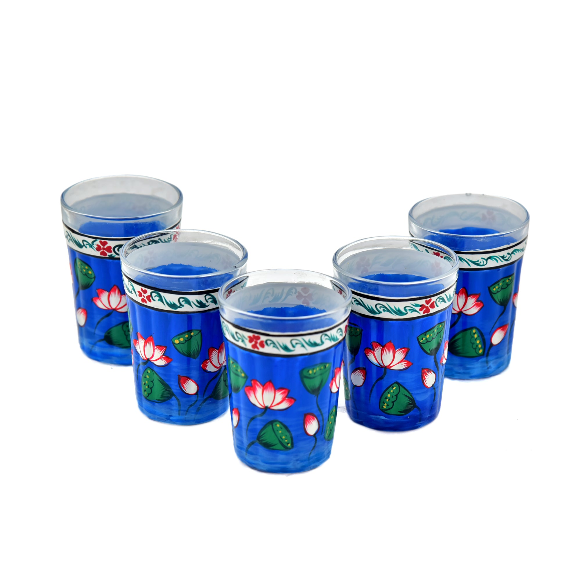 Kaushalam Tea Glass set of 6 : Blue Pichwai
